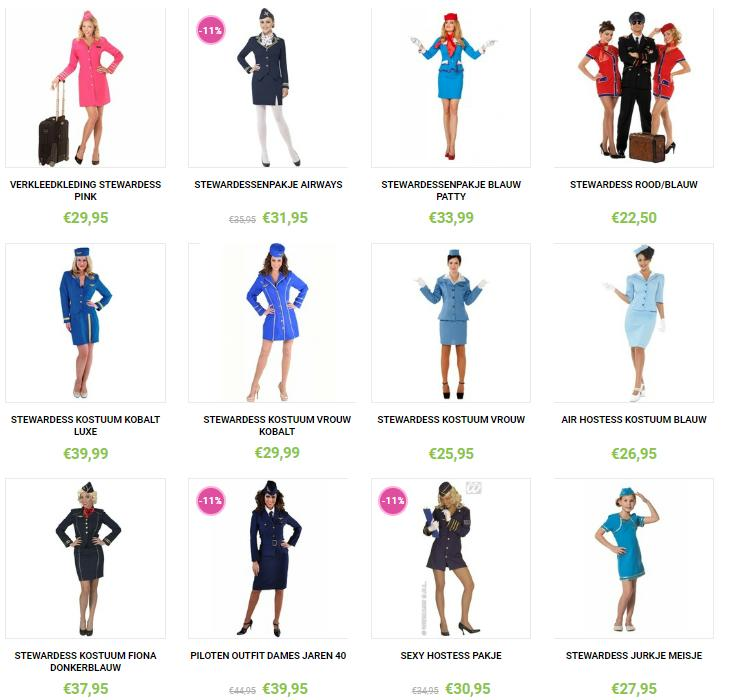 Allerlei soorten stewardessenoutfits.